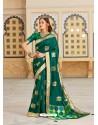 Dark Green Magnificent Designer Soft Silk Wedding Sari