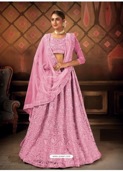 Light Pink Gorgeous Embroidered Designer Party Wear Lehenga