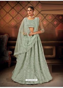 Grayish Green Gorgeous Embroidered Designer Party Wear Lehenga