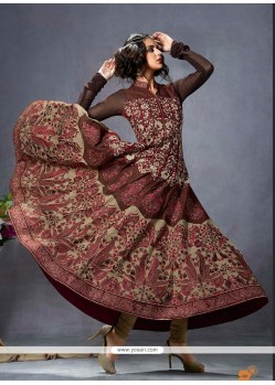 Talismanic Cotton Brown Anarkali Suit