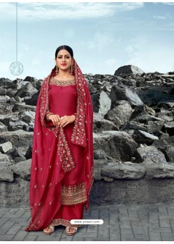Red Heavy Designer Party Wear Satin Georgette Palazzo Salwar Suit