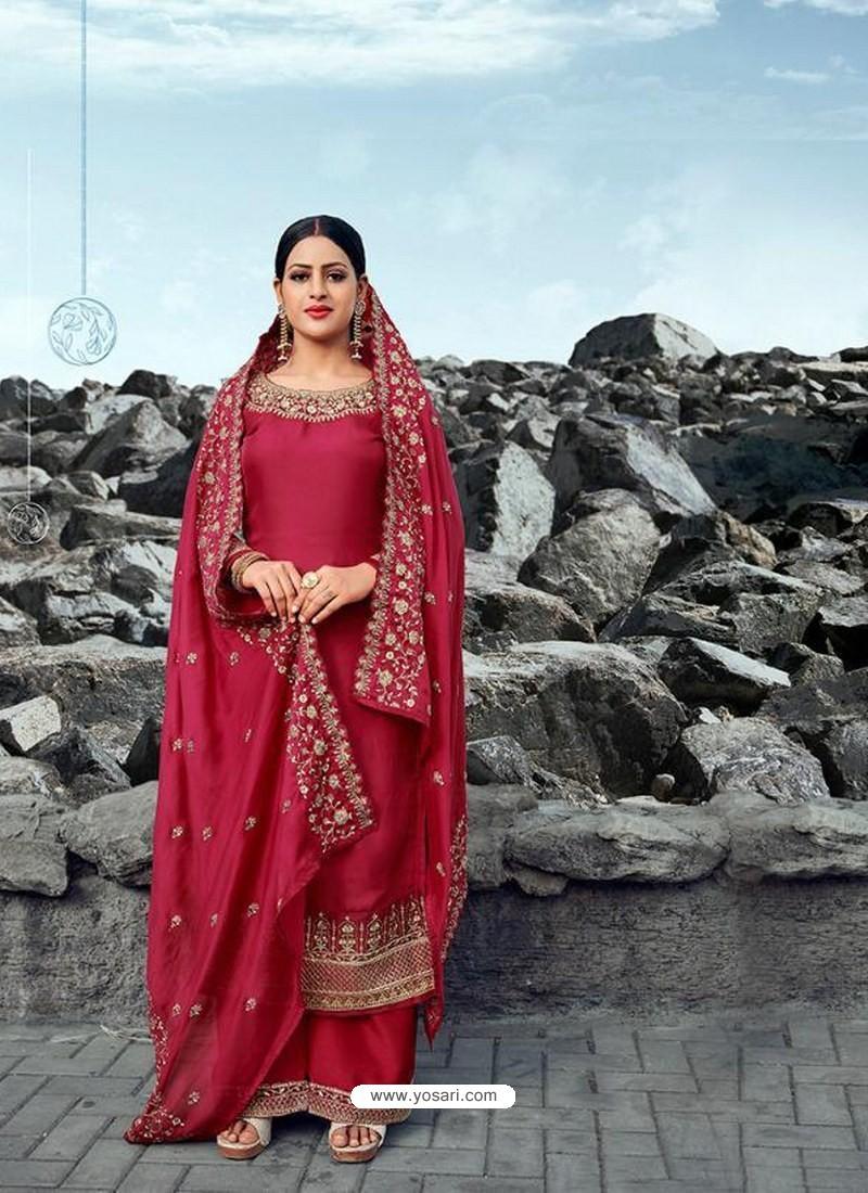 Red Heavy Designer Party Wear Satin Georgette Palazzo Salwar Suit