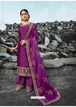 Purple Heavy Designer Party Wear Satin Georgette Palazzo Salwar Suit
