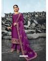 Purple Heavy Designer Party Wear Satin Georgette Palazzo Salwar Suit