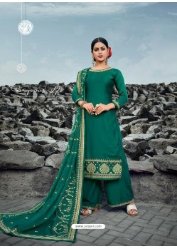 Dark Green Heavy Designer Party Wear Satin Georgette Palazzo Salwar Suit