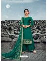 Dark Green Heavy Designer Party Wear Satin Georgette Palazzo Salwar Suit