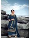 Dark Blue Heavy Designer Party Wear Satin Georgette Palazzo Salwar Suit