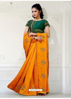 Mustard Designer Party Wear Blue Cherri Sari