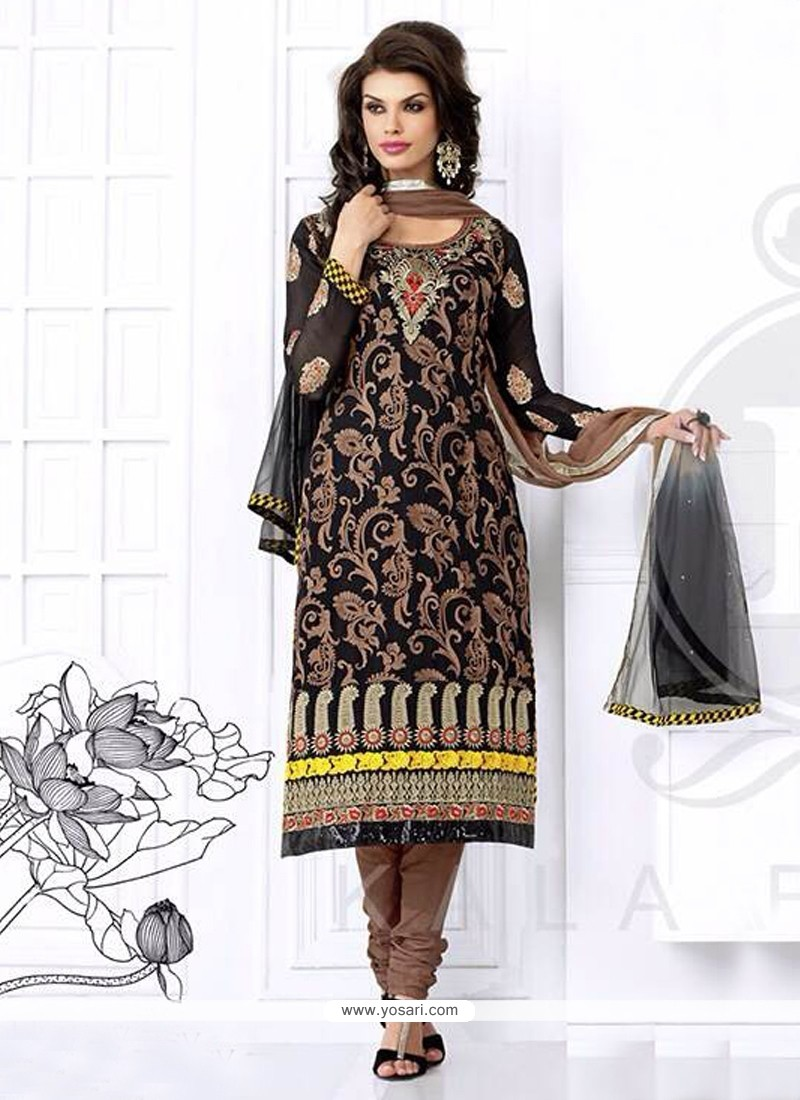 Black Resham Georgette Churidar Suit