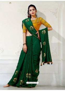 Dark Green Designer Party Wear Blue Cherri Sari