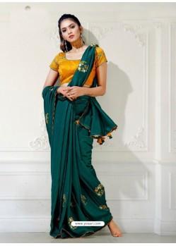 Teal Designer Party Wear Blue Cherri Sari