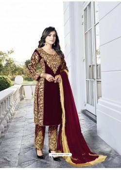 Maroon Party Wear Designer Velvet Straight Salwar Suit