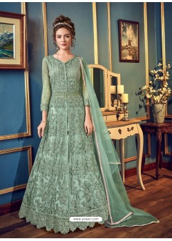 Sea Green Stunning Heavy Designer Japan Silk Party Wear Anarkali Suit