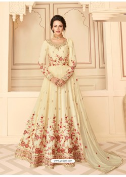 Cream Stunning Heavy Designer Pure Silk Party Wear Anarkali Suit
