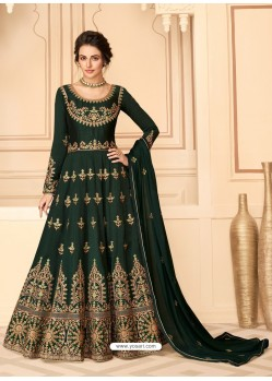 Dark Green Stunning Heavy Designer Pure Silk Party Wear Anarkali Suit