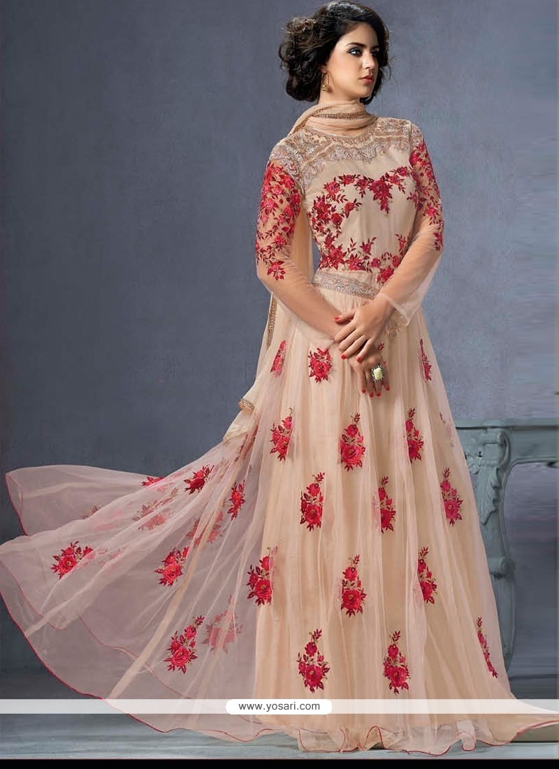 Dilettante Net Cream Floor Length Anarkali Salwar Suit