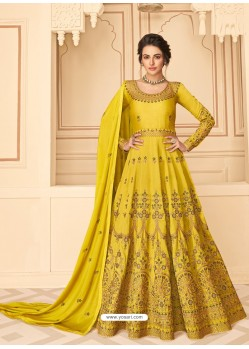 Yellow Stunning Heavy Designer Pure Silk Party Wear Anarkali Suit