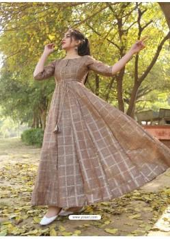 Camel Designer Anarkali Style Party Wear Pure Chanderi Kurti