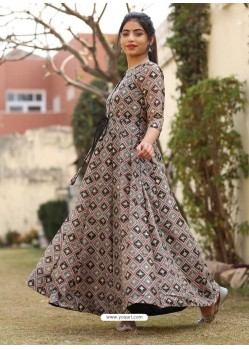 Taupe Designer Anarkali Style Party Wear Pure Chanderi Kurti