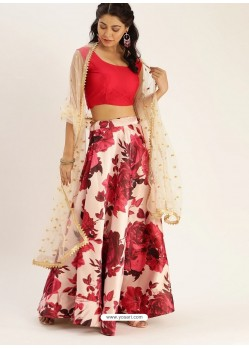 Red Heavy Designer Party Wear Lehenga