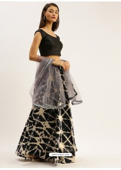 Black Heavy Designer Party Wear Lehenga