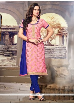 Delightful Pink Jacquard Churidar Designer Suit
