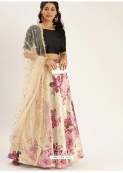 Off White Heavy Designer Party Wear Lehenga