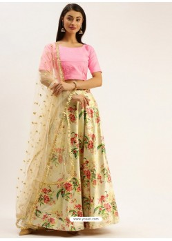 Cream Heavy Designer Party Wear Lehenga