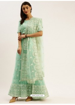 Sea Green Heavy Designer Party Wear Lehenga