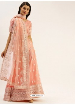 Light Orange Heavy Designer Party Wear Lehenga