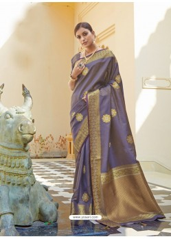 Lavender Ravishing Designer Party Wear Silk Sari