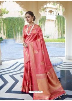 Peach Ravishing Designer Party Wear Silk Sari