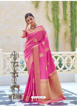 Hot Pink Ravishing Designer Party Wear Silk Sari