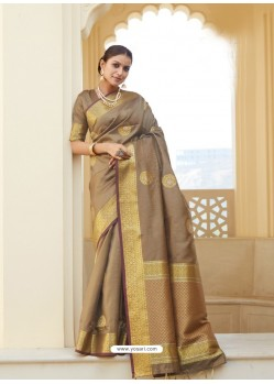 Beige Ravishing Designer Party Wear Silk Sari