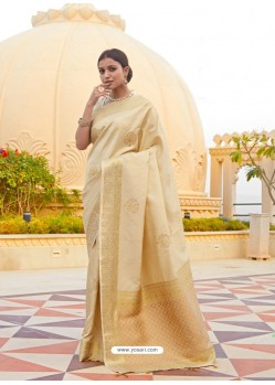Cream Ravishing Designer Party Wear Silk Sari