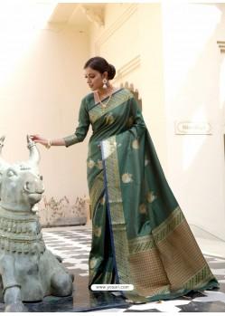 Dark Green Ravishing Designer Party Wear Silk Sari