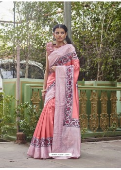 Peach Designer Party Wear Fancy Fabric Sari