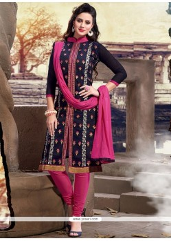 Sophisticated Navy Blue Chanderi Churidar Designer Suit