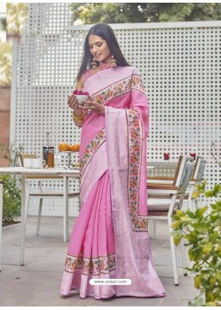 Pink Designer Party Wear Fancy Fabric Sari