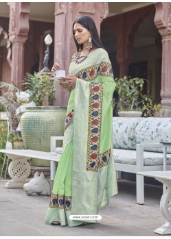 Green Designer Party Wear Fancy Fabric Sari