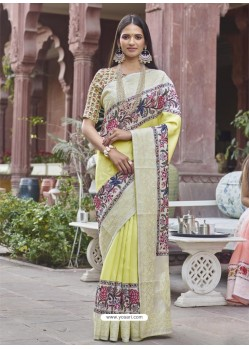 Lemon Designer Party Wear Fancy Fabric Sari