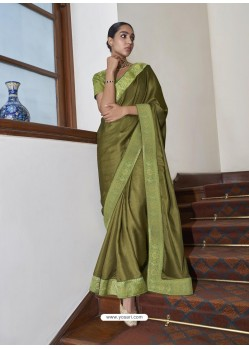 Green Gorgeous Designer Party Wear Silk Sari