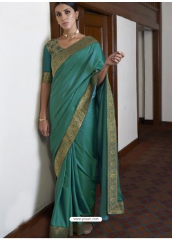 Turquoise Gorgeous Designer Party Wear Silk Sari