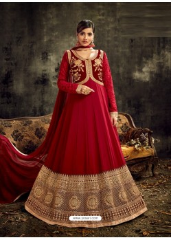 Red Heavy Embroidered Designer Anarkali Suit