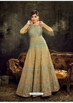 Cream Heavy Embroidered Designer Anarkali Suit