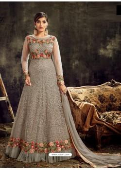 Grey Heavy Embroidered Designer Anarkali Suit