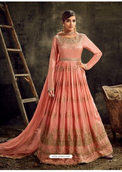 Peach Heavy Embroidered Designer Anarkali Suit