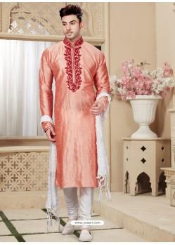 Peach Readymade Designer Party Wear Kurta Pajama For Men