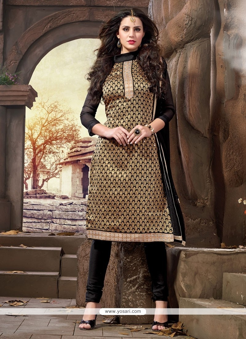 Snazzy Black Resham Work Jacquard Churidar Designer Suit