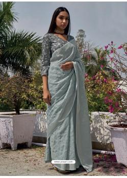 Grey Designer Party Wear Embroidered Cotton Sari